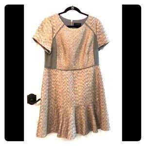 J. Crew Grey & Peach Flounce Dress, size 16, NWT